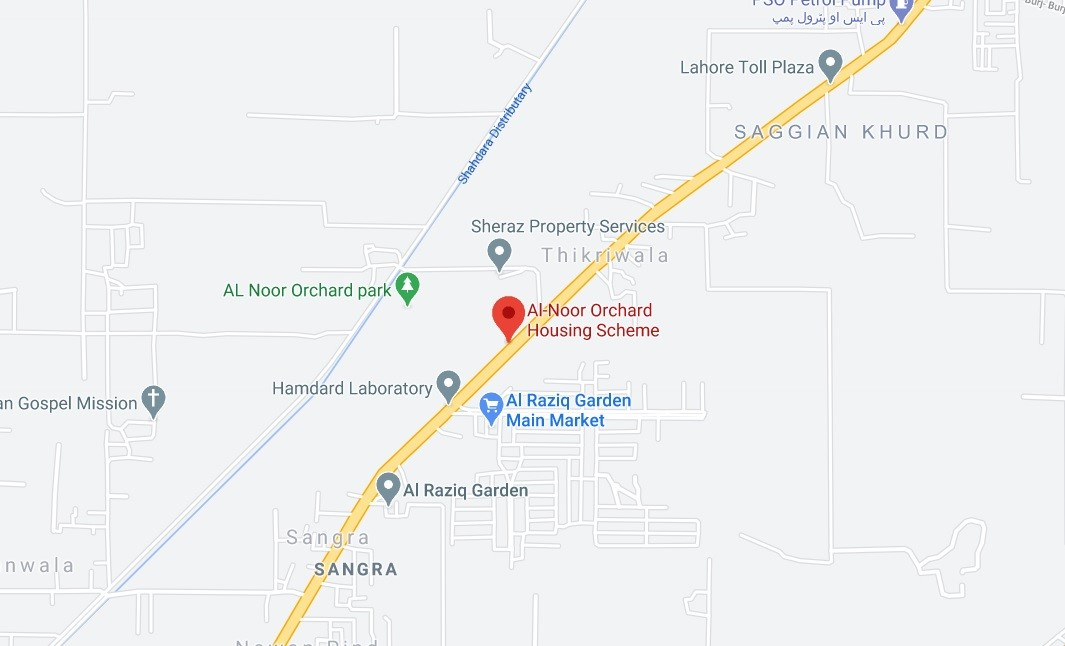 location map of al noor orchard Lahore