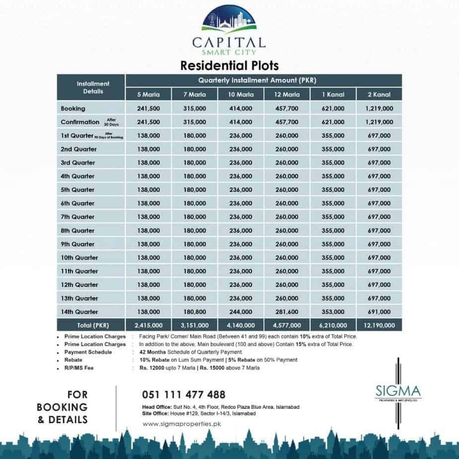 capital smart city residential plots payment plan