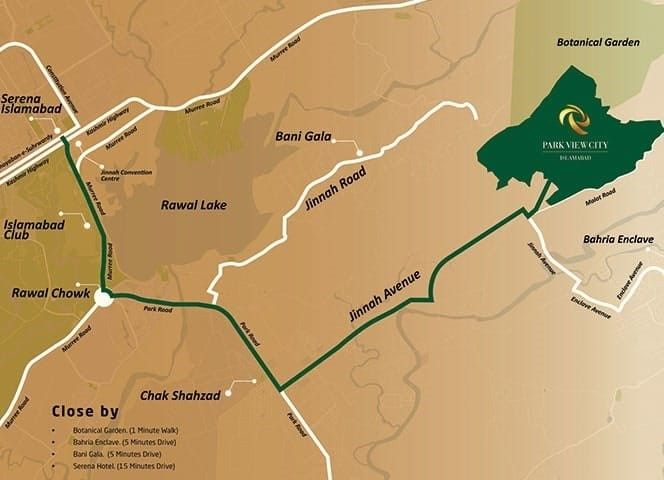 location map of Park view city Islamabad