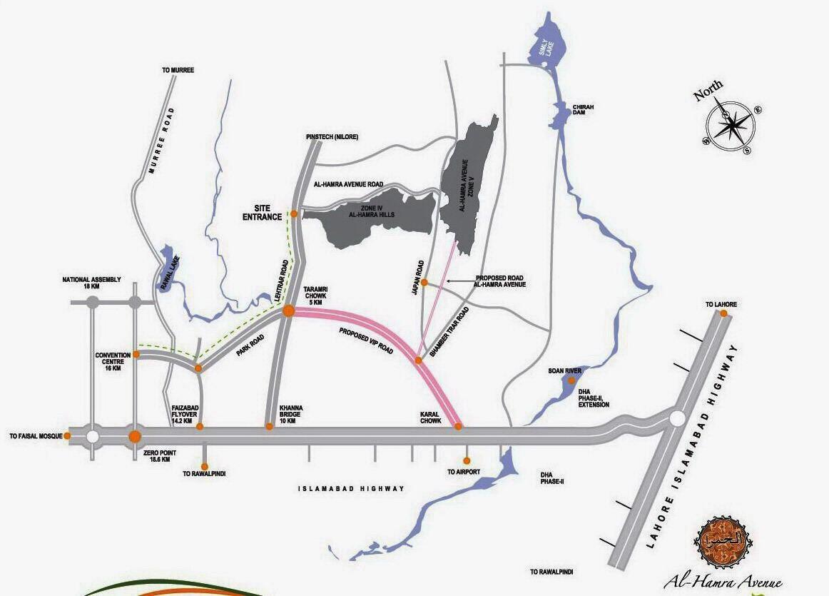 location map of Al-hamra avenue