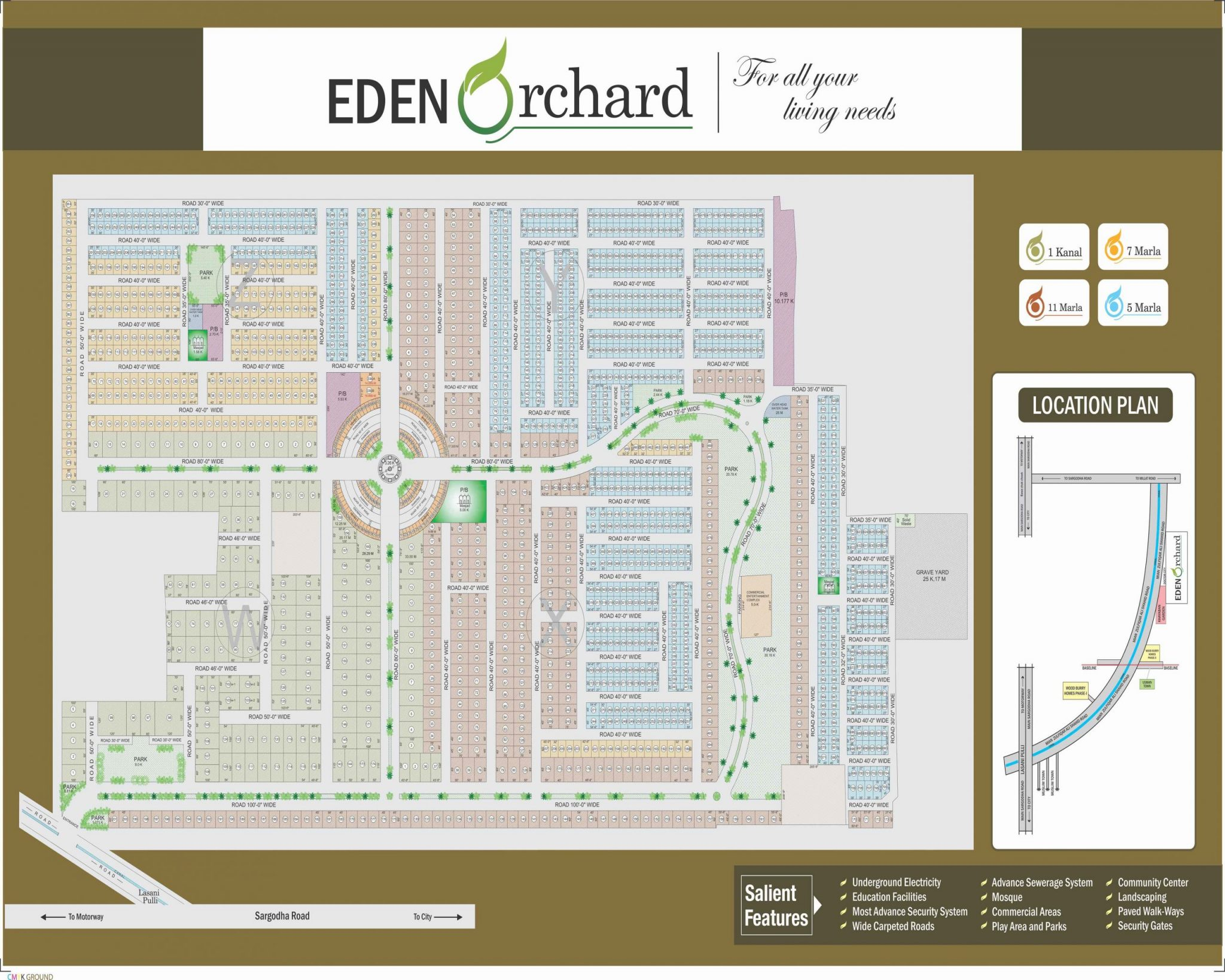 Master plan of Eden Orchard Faisalabad