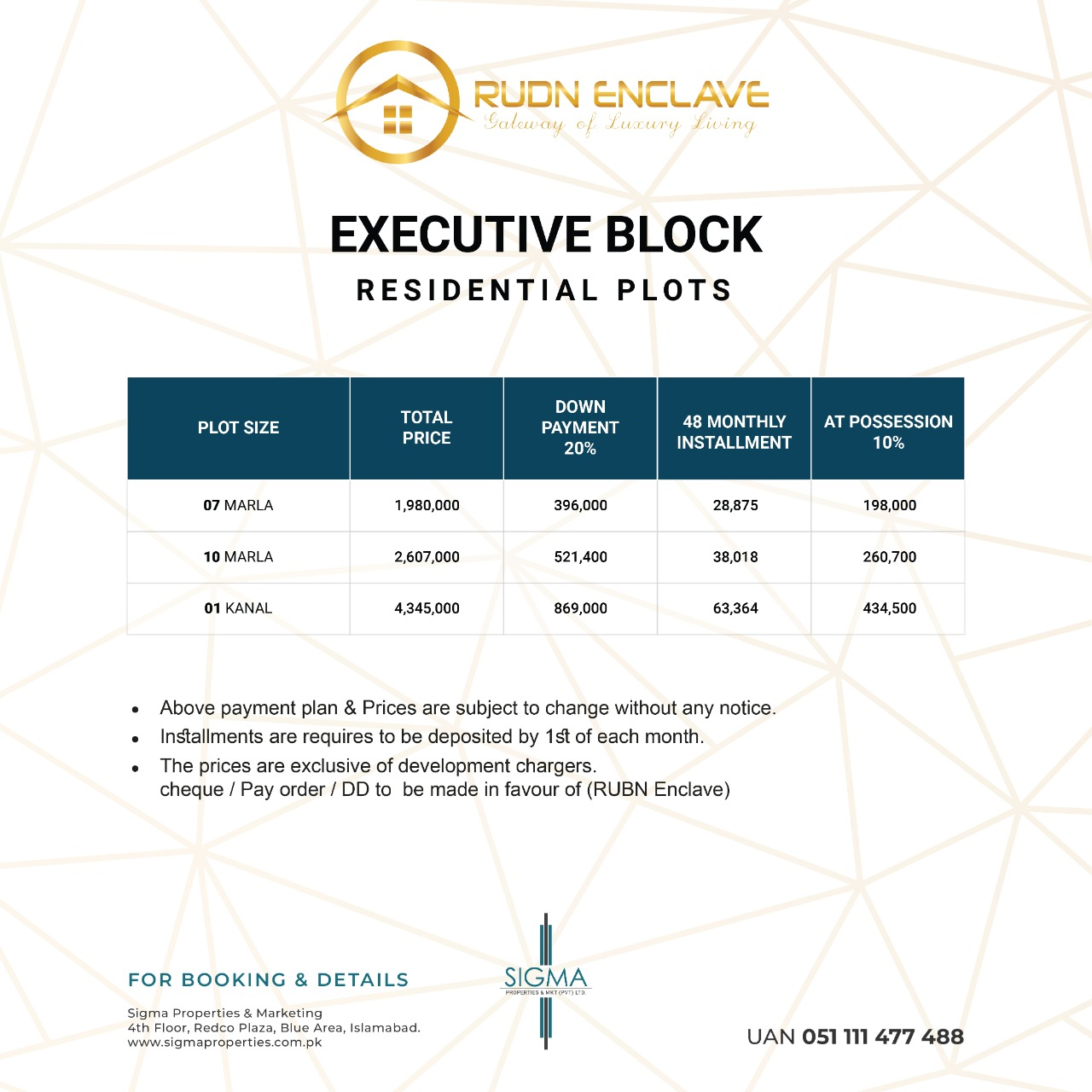 executive block residential plot payment plan of rudn enclave
