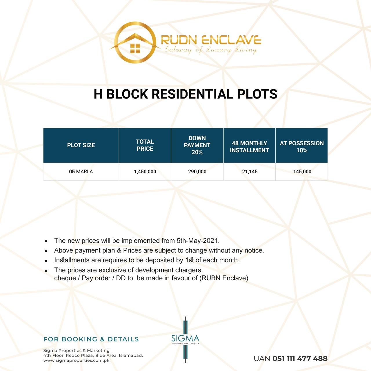 payment plan of H block in nova city