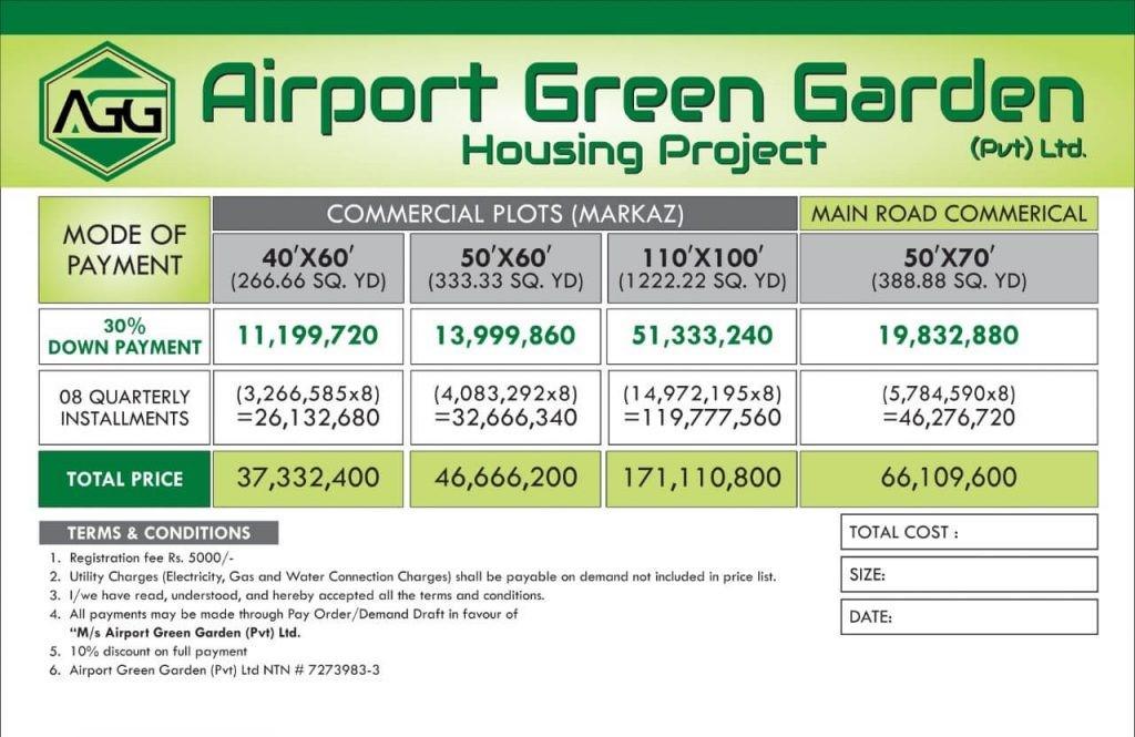 commercial plot payment plan of airport green garden