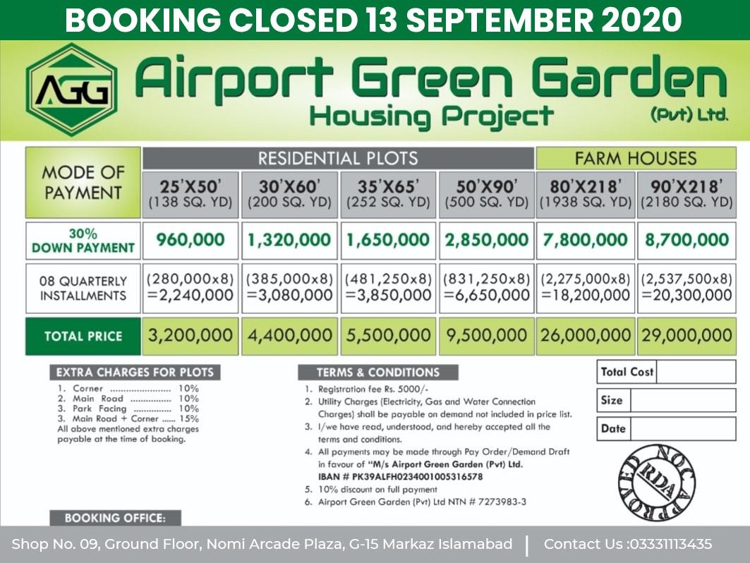 residential plot payment plan of airport green garden