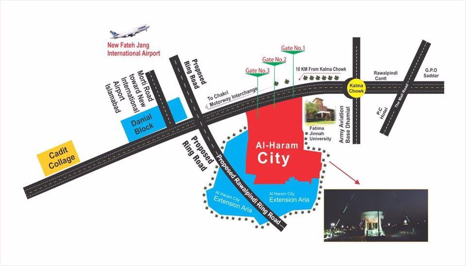 location map of al haram city rawalpindi