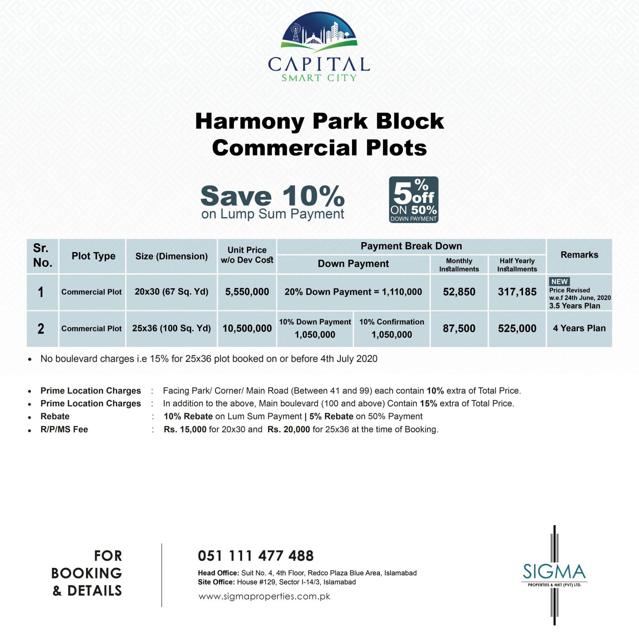 harmony park block commercial plots payment plan
