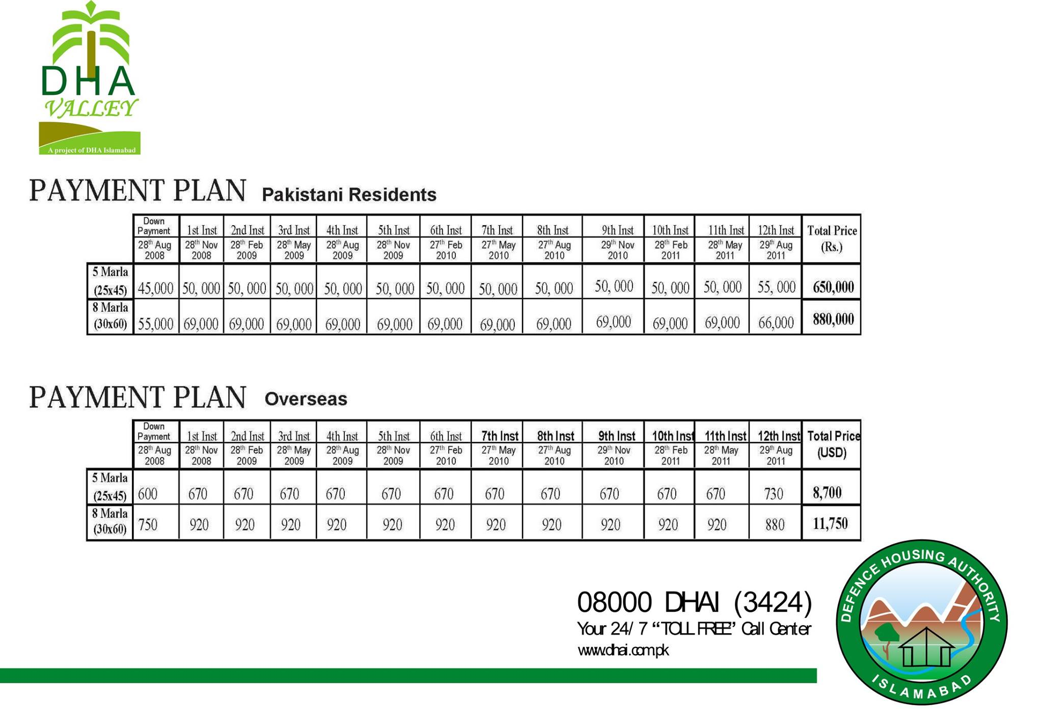 residential payment plan of DHA Valley Islamabad