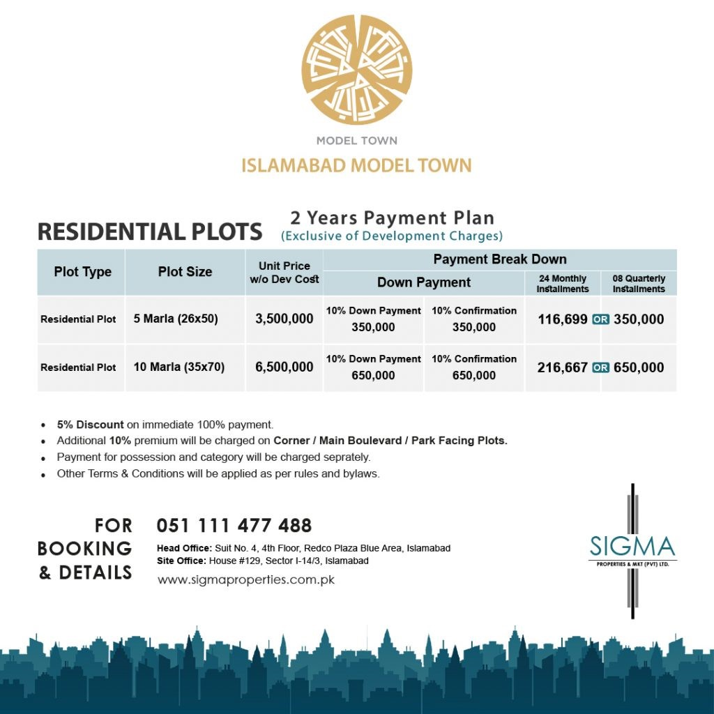 MODEL TOWN PAYMENT PLAN for 10 marla residential plot