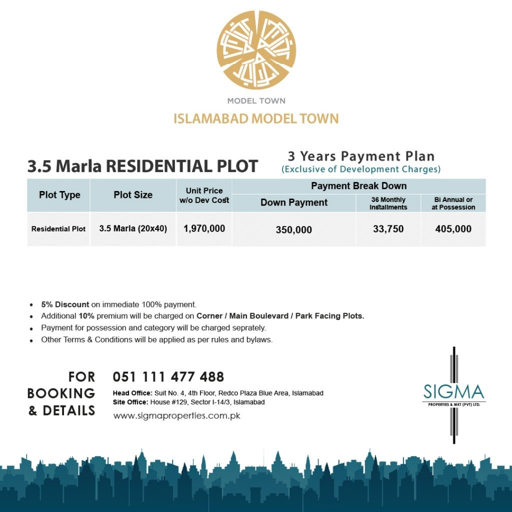 MODEL TOWN PAYMENT PLAN for 3.5 marla residential plot