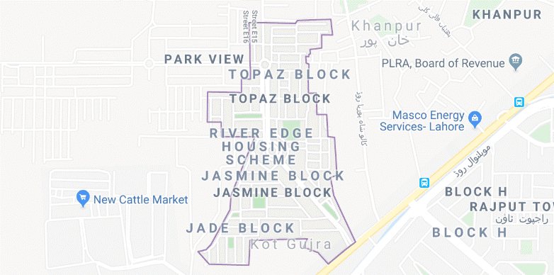 location map of park view city Lahore