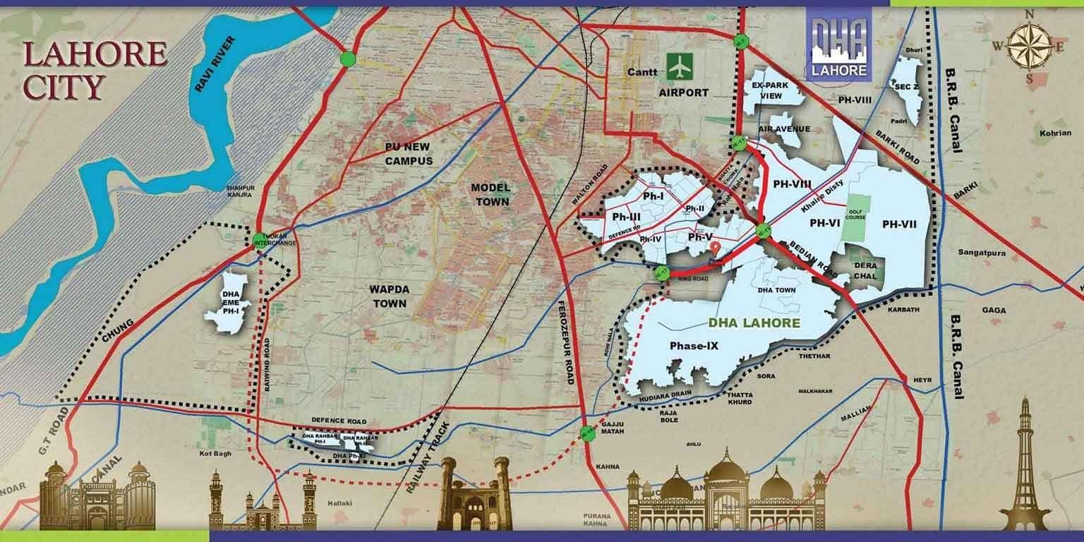 location map of DHA Lahore