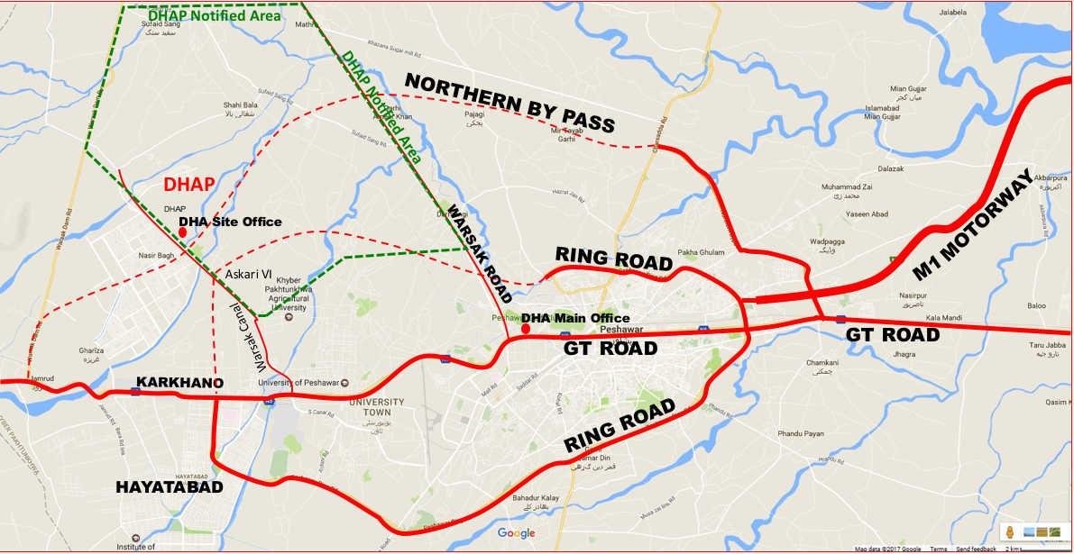 DHA Peshawar location map