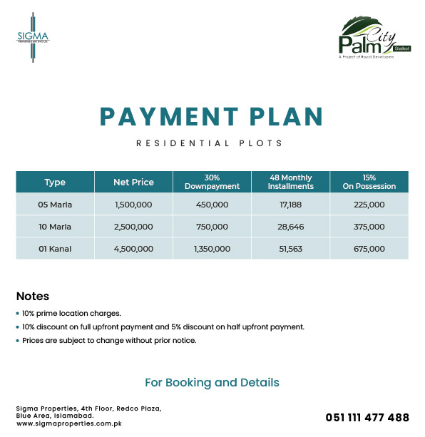 Residential Plots Payment Plan Palm City Sialkot
