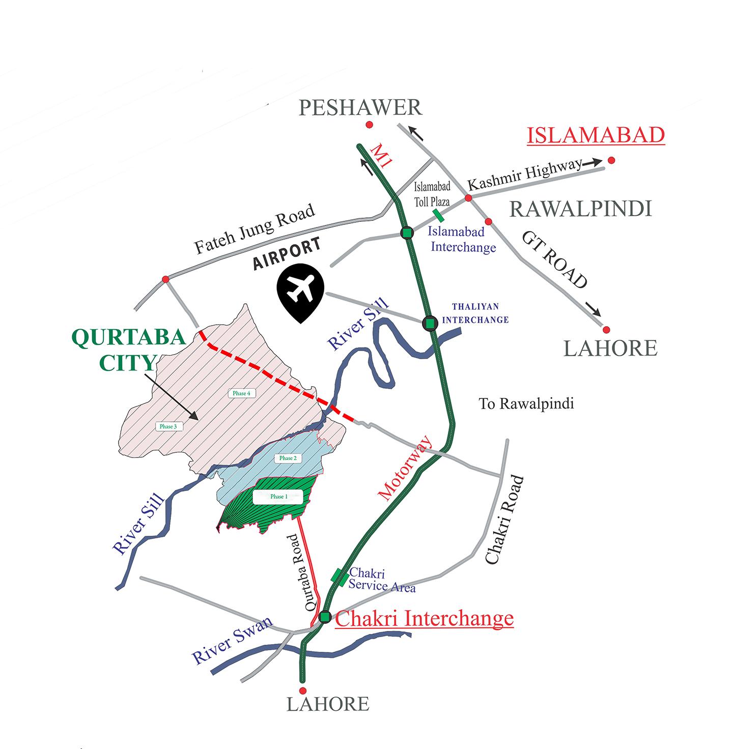 location map of qurtaba city
