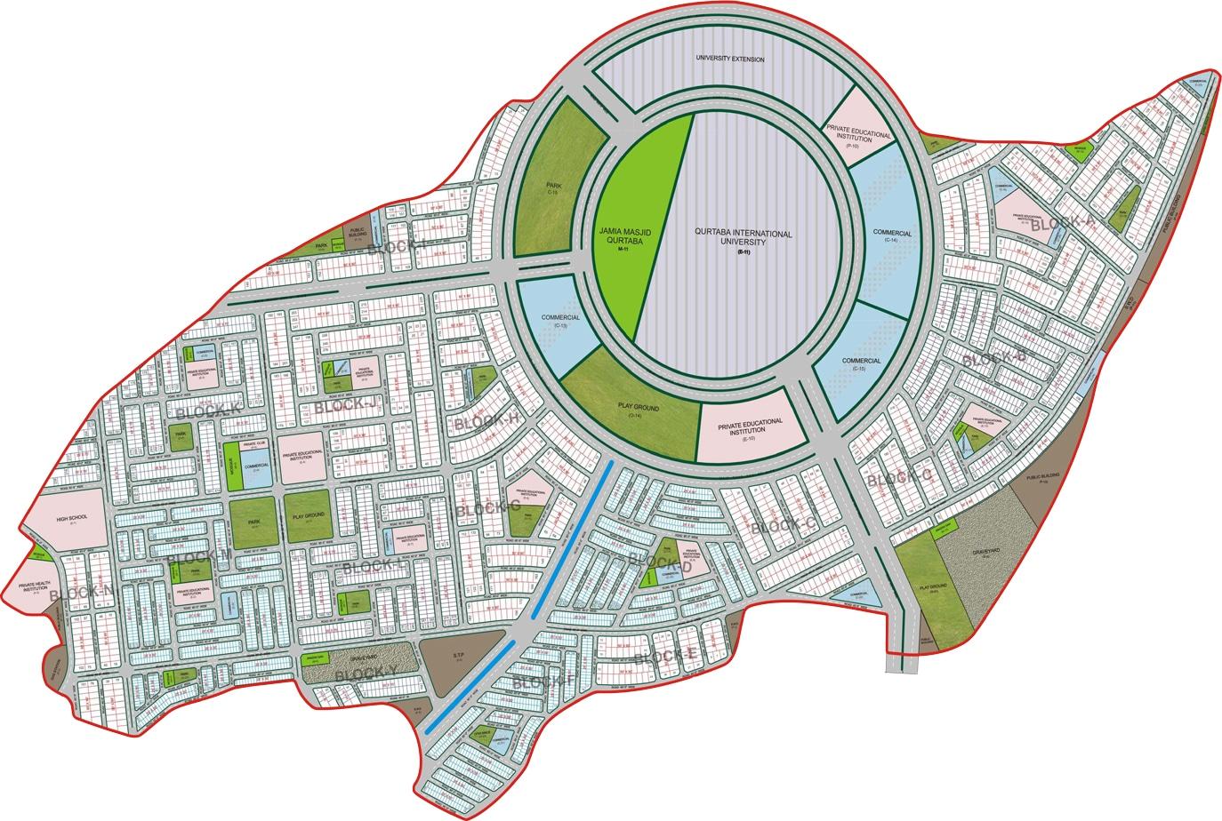 Master plan of qurtaba city