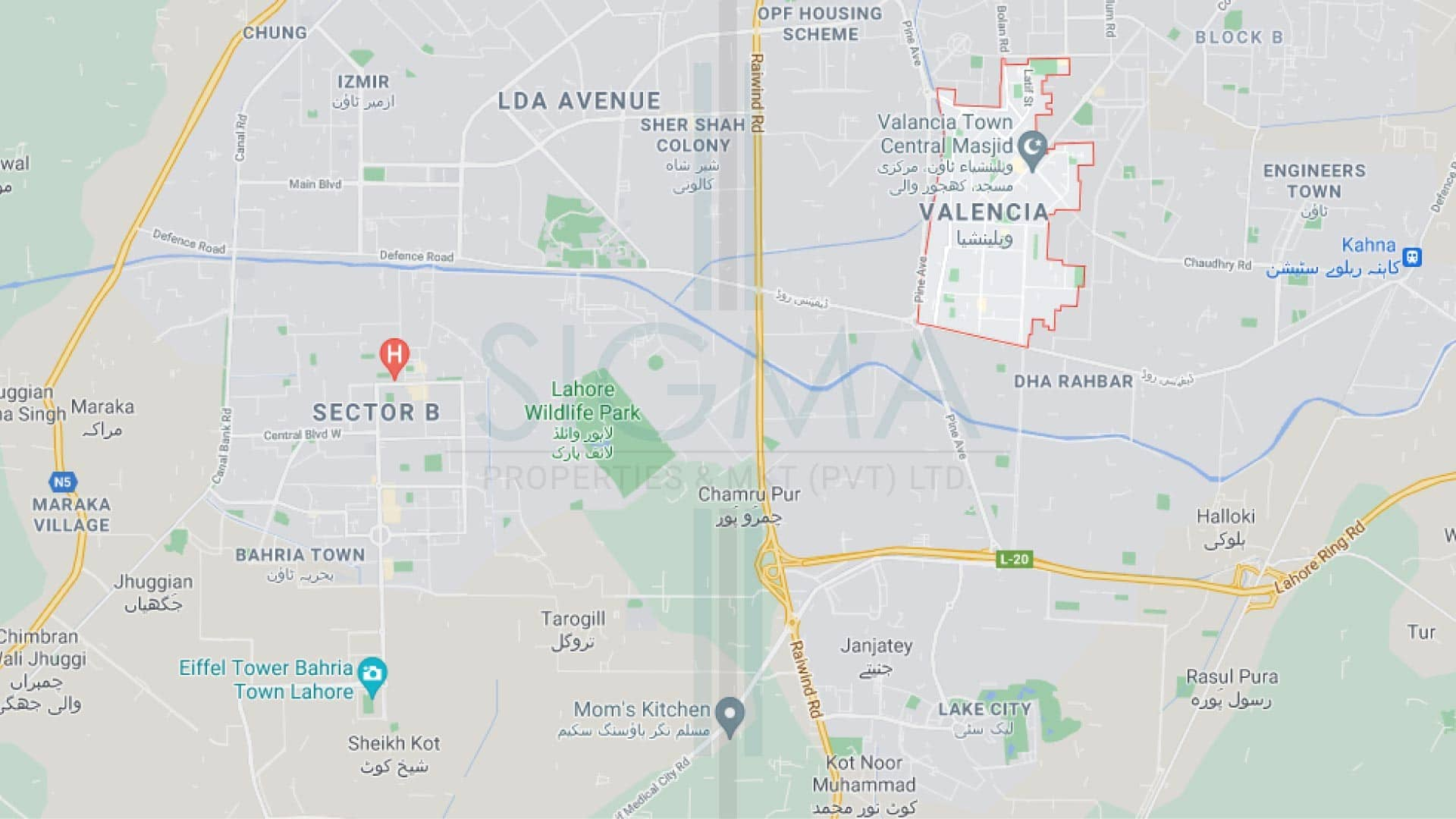 location map of Valencia town Lahore
