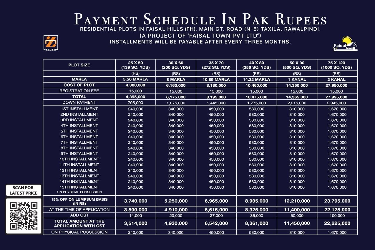 Faisal Hills Islamabad Payment Plans