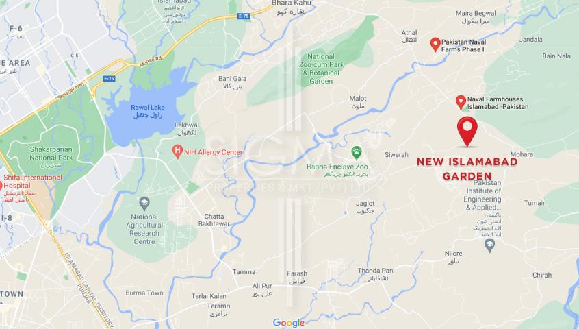 location map of new Islamabad Garden