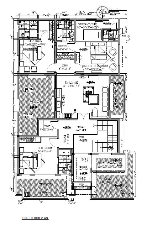 1 Kanal smart villas blueprint first floor