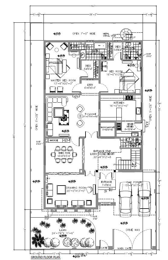 1 Kanal smart villas blueprint Ground floor