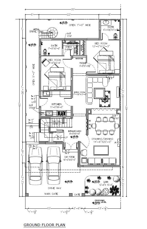 10 marla smart villas blueprint Ground floor