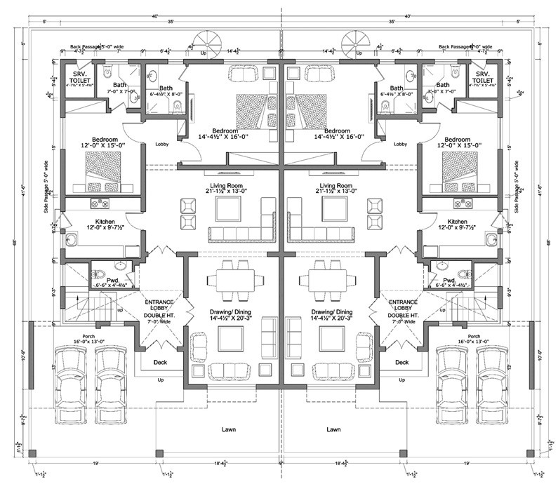 12 marla smart villas blueprint Ground floor