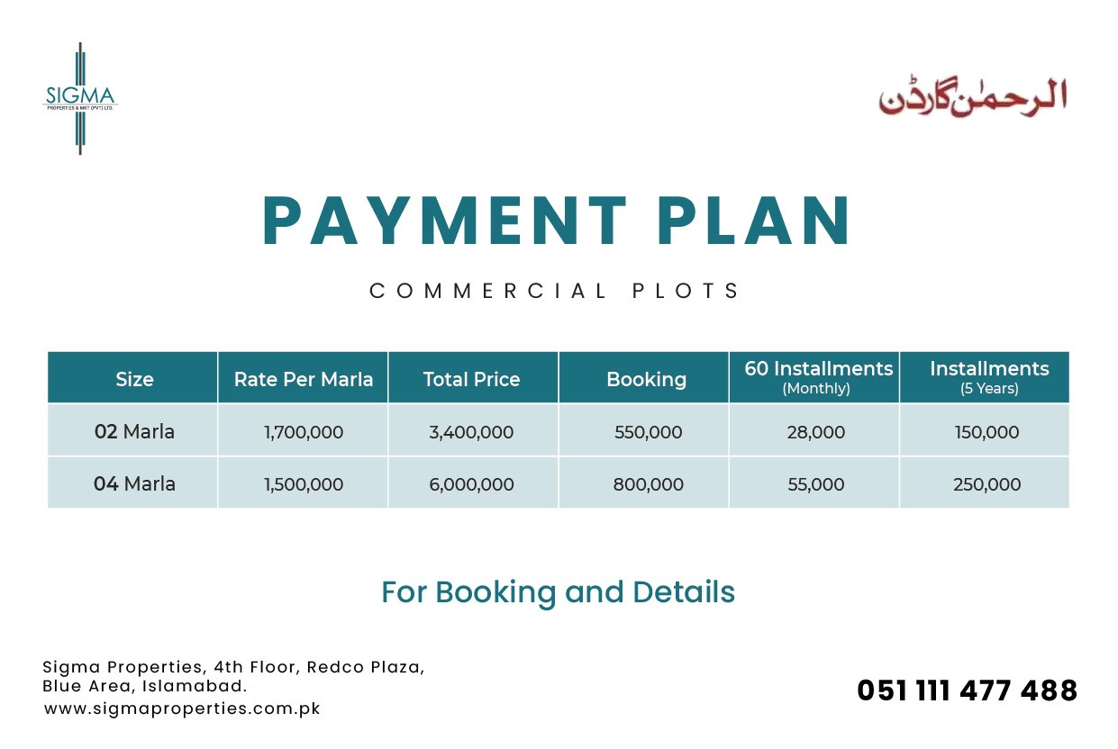 Al Rehman Garden Lahore commercial payment plan