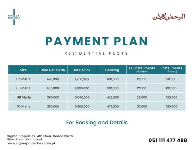 Al Rehman Garden Lahore residential plot payment plan