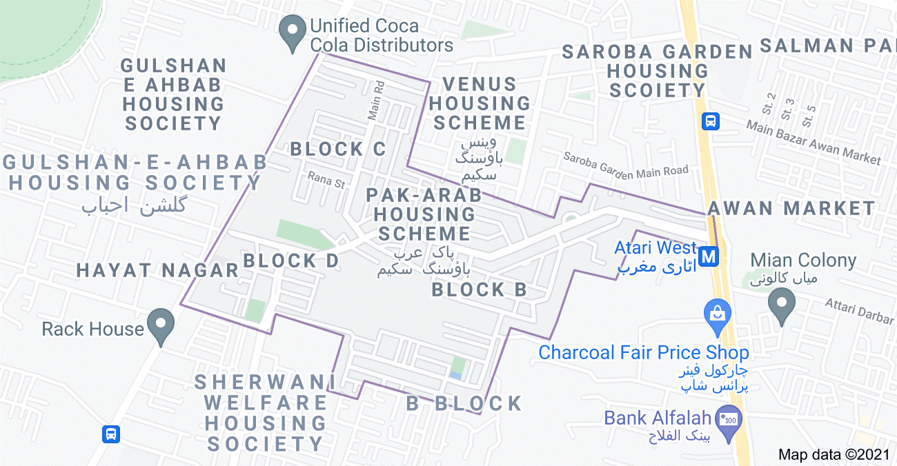 Pak Arab Housing Scheme Lahore location map