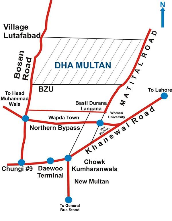 DHA Multan location map